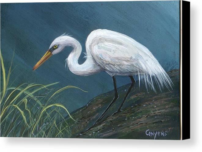 Heron Canvas Print featuring the painting White Heron by Peggy Conyers
