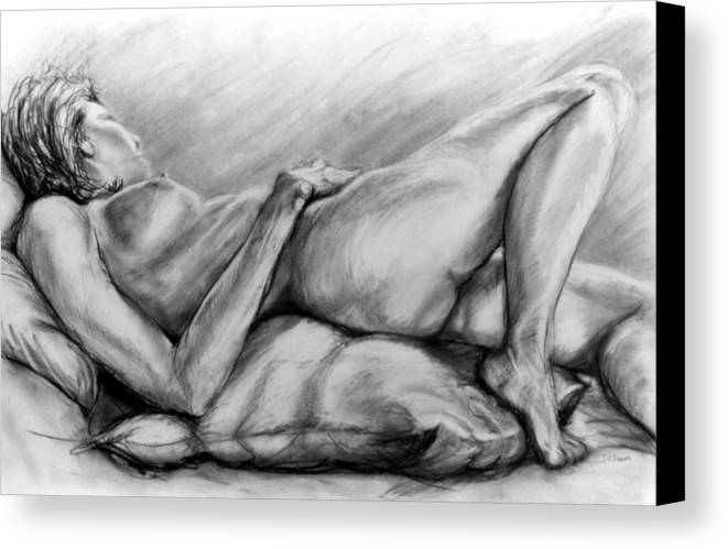Woman Canvas Print featuring the drawing Woman Resting by John Clum