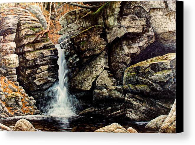 Waterfall Canvas Print featuring the painting Woodland Falls by Frank Wilson