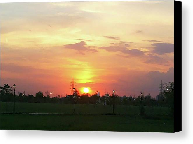 City Canvas Print featuring the photograph Yellow Sunset At Park by Atullya N Srivastava
