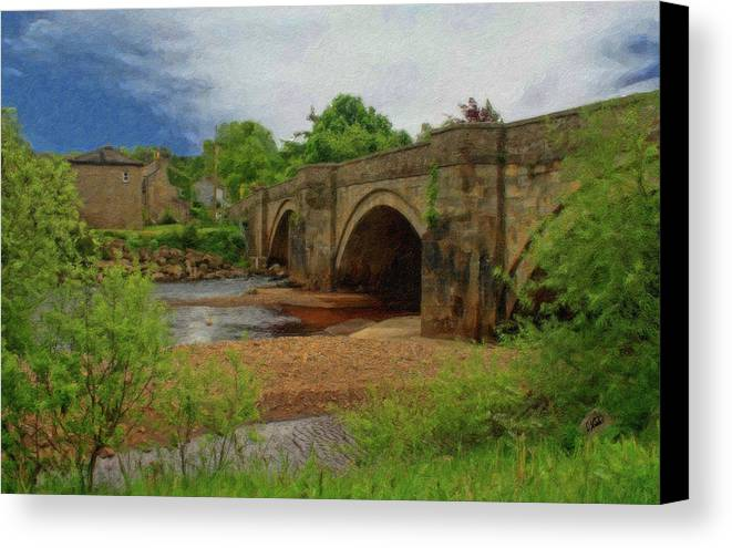 Dean Wittle Canvas Print featuring the painting Yorkshire Bridge - P4a16015 by Dean Wittle