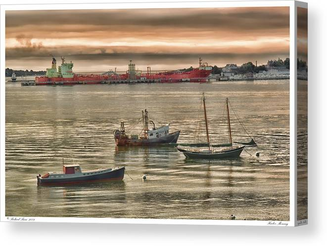 Boats Canvas Print featuring the photograph Harbor Morning by Richard Bean