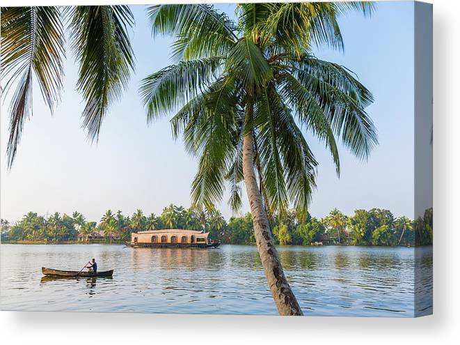 Alappuzha Canvas Print featuring the photograph Traditional Houseboat, Kerala by Peter Adams