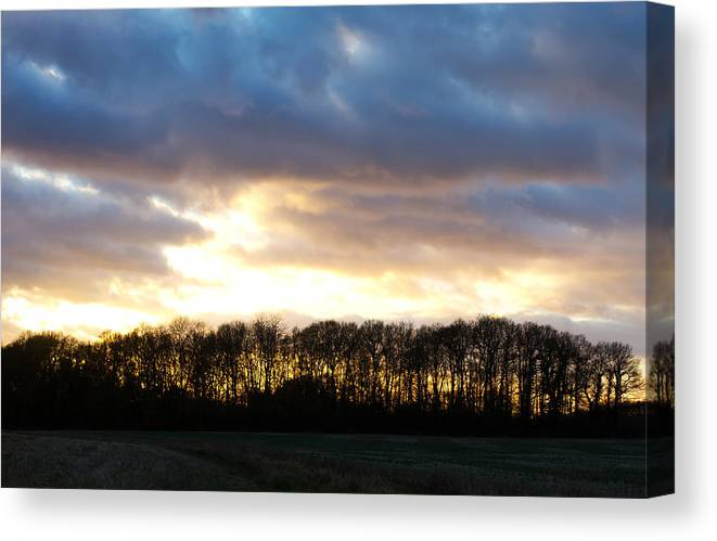 Beams Canvas Print featuring the photograph Sunset Over Trees In An English Field by Fizzy Image