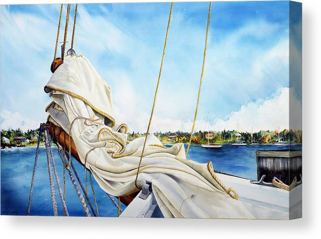 New Jersey Tall Ship Canvas Print featuring the painting A. J. Meerwald Heading Out by Phyllis London
