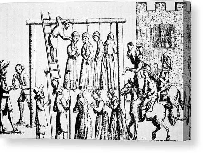 Salem Canvas Print featuring the drawing An Execution Of Witches In England by English School