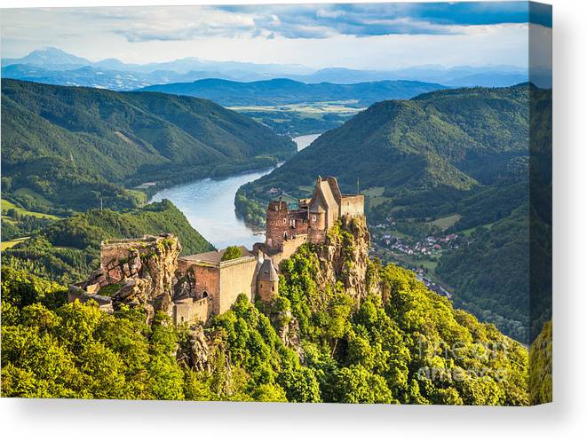 Aggstein Canvas Print featuring the photograph Ancient Austria by JR Photography