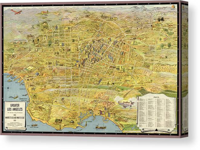 photo regarding Printable Map of Los Angeles identified as Antique Map Of Los Angeles California By way of K. M. Leuschner - 1932 Canvas Print