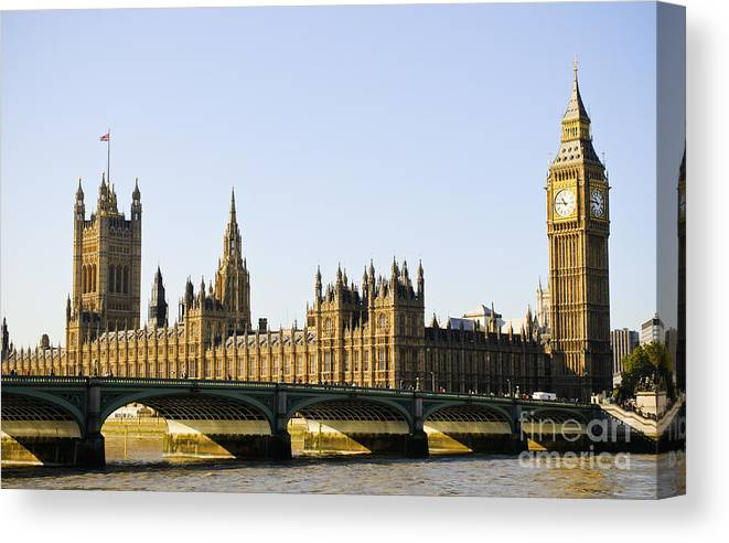 Big Ben Canvas Print featuring the photograph Big Ben And Houses Of Parliament by Lana Enderle