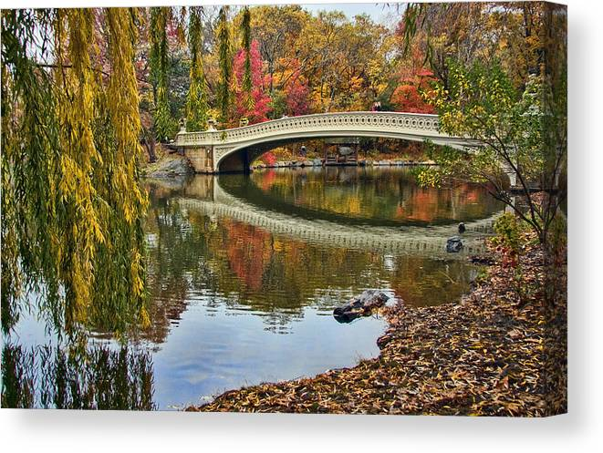 Central Canvas Print featuring the photograph Bow Bridge by June Marie Sobrito