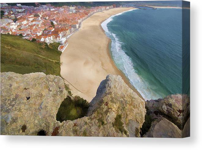 Beach Canvas Print featuring the photograph Cliff Of The Seaside Village Of Nazare by David Letts