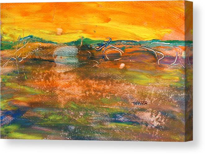 Golden Sky Canvas Print featuring the painting Daybreak by Tonya Schultz