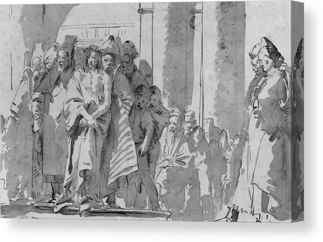 Tiepolo Canvas Print featuring the drawing Ecce Homo by Tiepolo