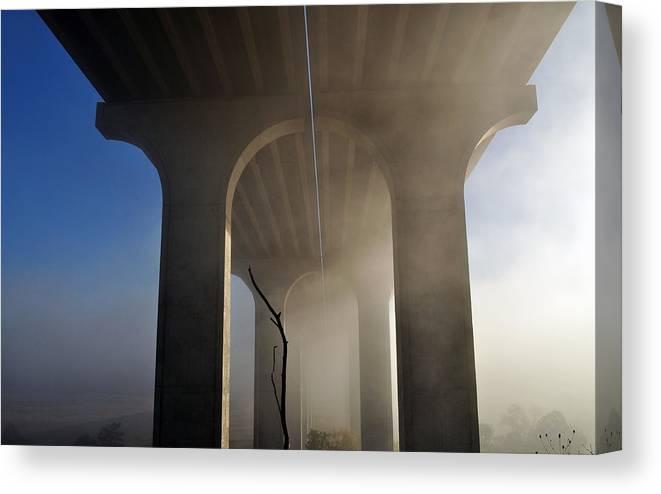 Fog Canvas Print featuring the photograph Fog Bridge by Patrick Friery