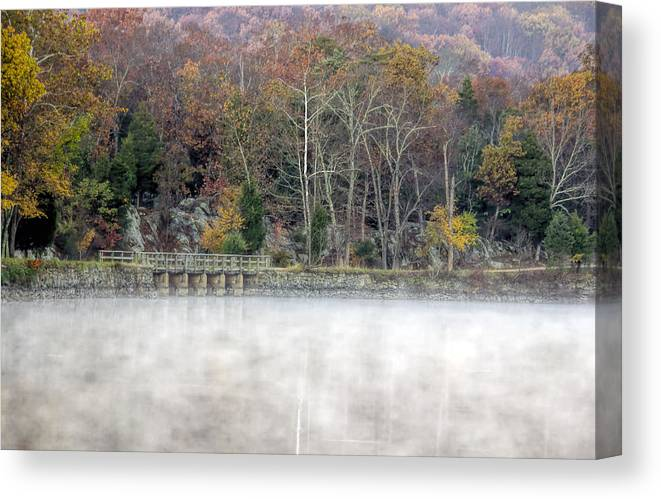C&o Canvas Print featuring the photograph Foggy Fall On Maryland Towpath by Francis Sullivan