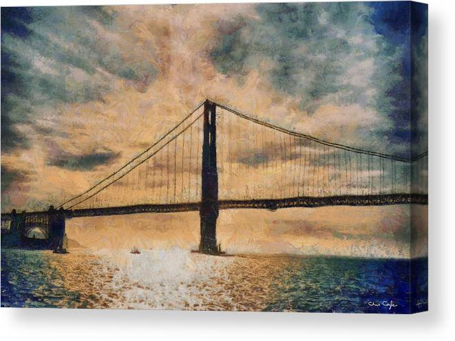 San Francisco Canvas Print featuring the digital art Golden Gatepost by Chris Coyle