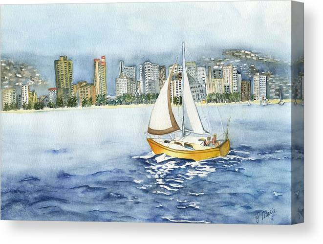 Sail Boat Canvas Print featuring the painting Gone Sailing by Phyllis Muller