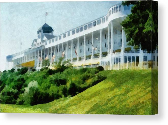 Hotel Canvas Print featuring the photograph Grand Hotel Mackinac Island Ll by Michelle Calkins