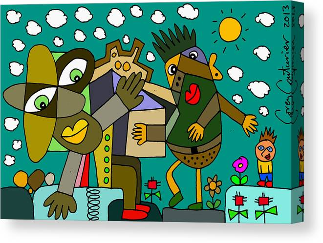 Doodles Canvas Print featuring the digital art Hello by Corey Couturier