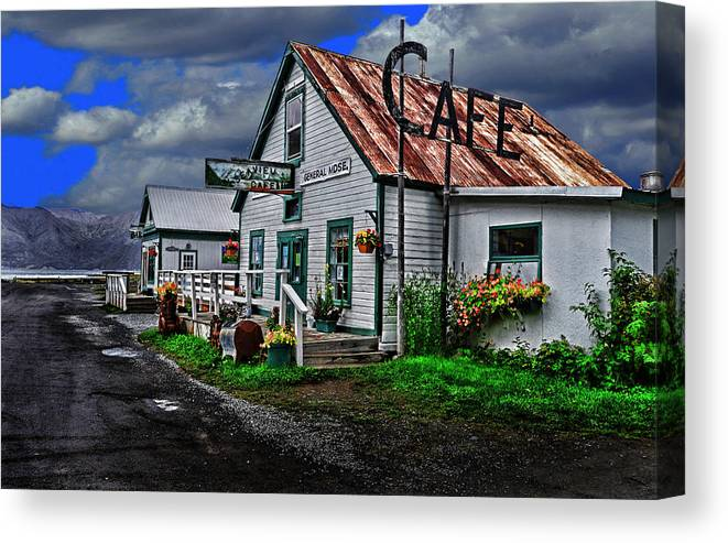 Alaska Canvas Print featuring the photograph Hope Cafe by Tom Reed