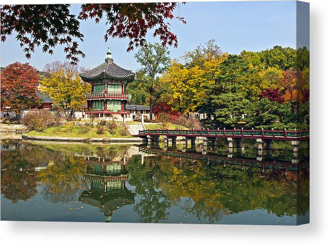 Autumn Canvas Print featuring the photograph Hyangwonjeong Pavilion In Autumn by Tony Crehan