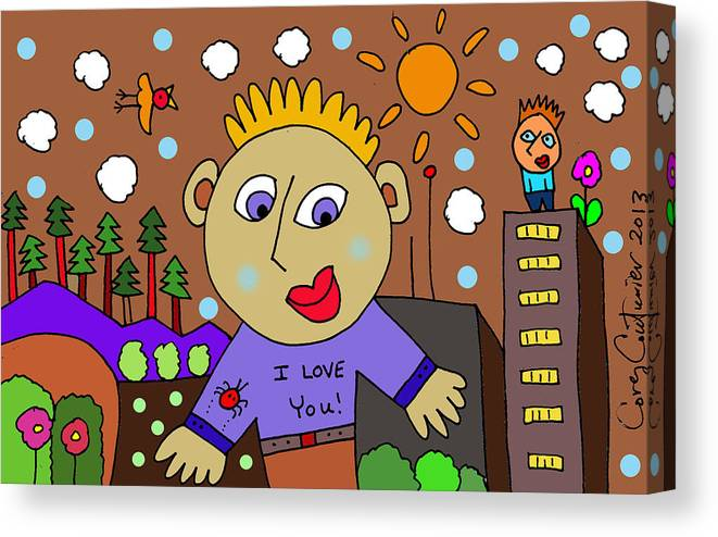 Doodle Art Canvas Print featuring the digital art I Love You by Corey Couturier