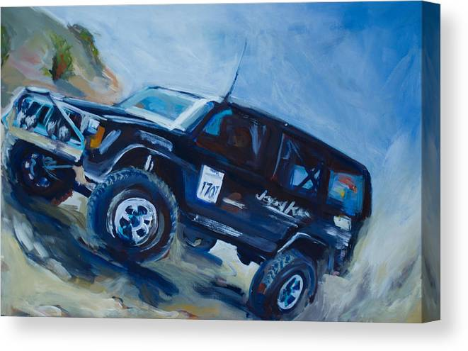 Jeep Canvas Print featuring the painting Jeepspeed by Chelsea Davidson
