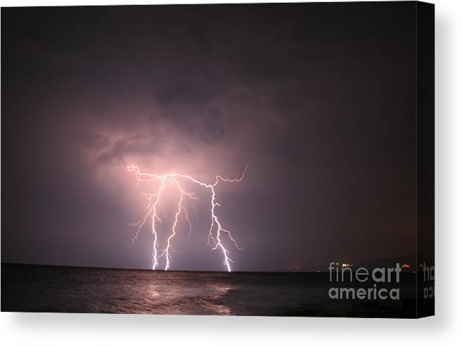 Lightning Canvas Print featuring the photograph Lightning At Open Sea by Leyla Ismet