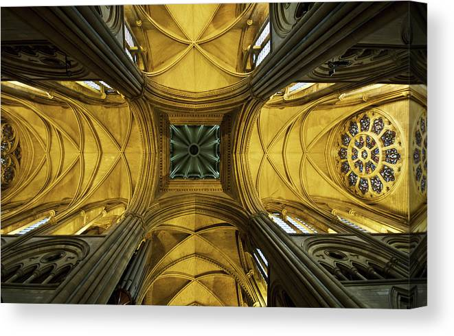 Arch Canvas Print featuring the photograph Looking Up At A Cathedral Ceiling by James Ingham / Design Pics