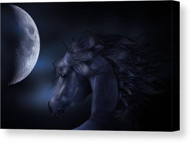 Horse Canvas Print featuring the digital art 'moon Struck' by Sylvia De Klerk
