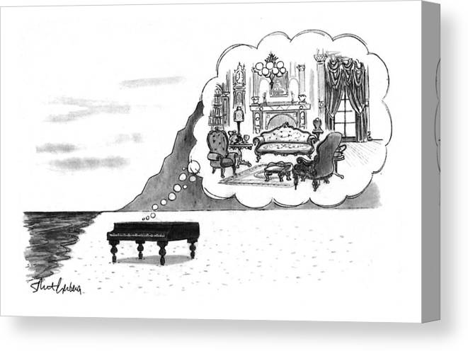 (the Piano On A Desolate Beach Wishing It Was In A Nice Parlor.)  No Caption Piano On Beach Has Mental Image Of Comfortable Victorian Parlor. Refers To Jane Campion's Film  Canvas Print featuring the drawing New Yorker January 24th, 1994 by Mort Gerberg