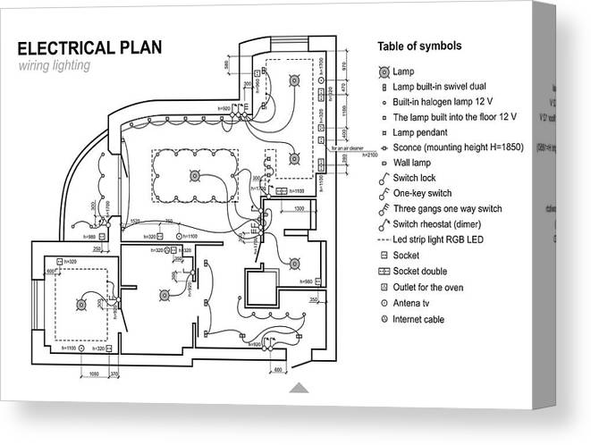plan canvas print featuring the drawing plan wiring lighting  electrical  schematic interior  set of  wall view 001