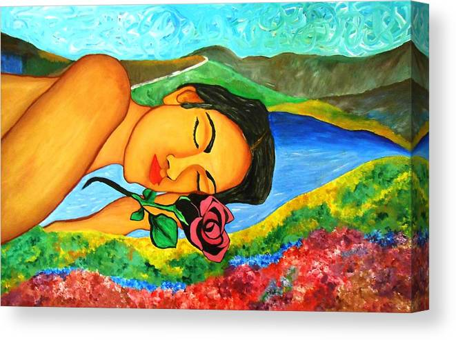 Woman Canvas Print featuring the painting Sins Of A Lover by Ana Belle
