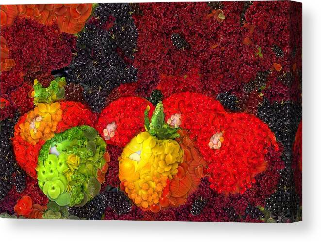 Still Life Tomatoes Fruits And Vegetables Canvas Print featuring the painting Still Life Tomatoes Fruits And Vegetables by Dan Sproul