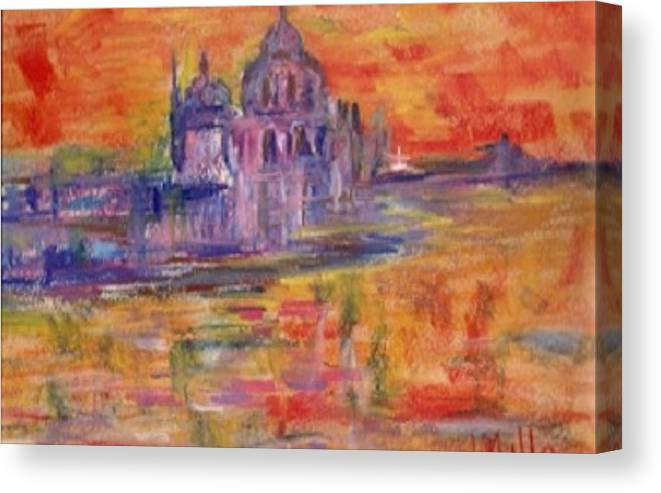 Sea Canvas Print featuring the painting Sunset In Venice by Milla Nuzzoli