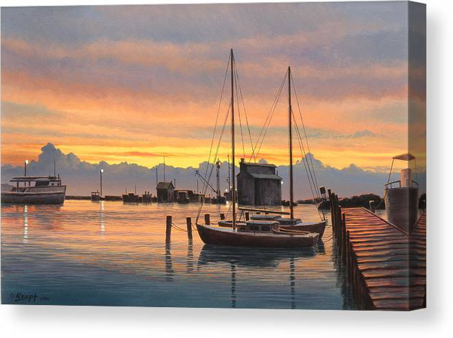 Landscape Canvas Print featuring the painting Sunset-north Dock At Pelee Island  by Paul Krapf