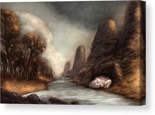 Monster Canvas Print featuring the painting The Cravenwaller by Ethan Harris