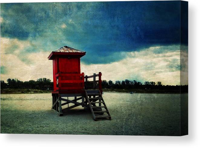 Clearwater Florida Canvas Print featuring the digital art The Red Lifeguard Shack by Sandra Selle Rodriguez