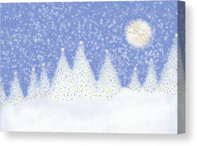 Sparkles Canvas Print featuring the digital art Winter Scene by Debra Congi