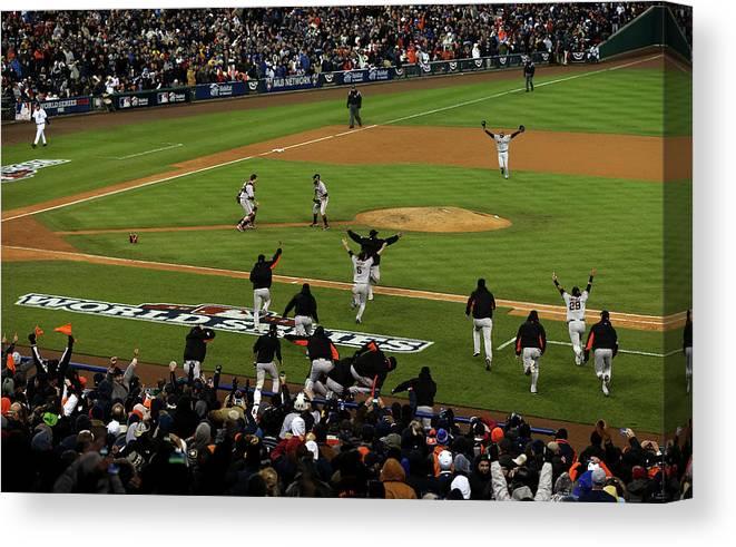 American League Baseball Canvas Print featuring the photograph World Series - San Francisco Giants V by Jonathan Daniel