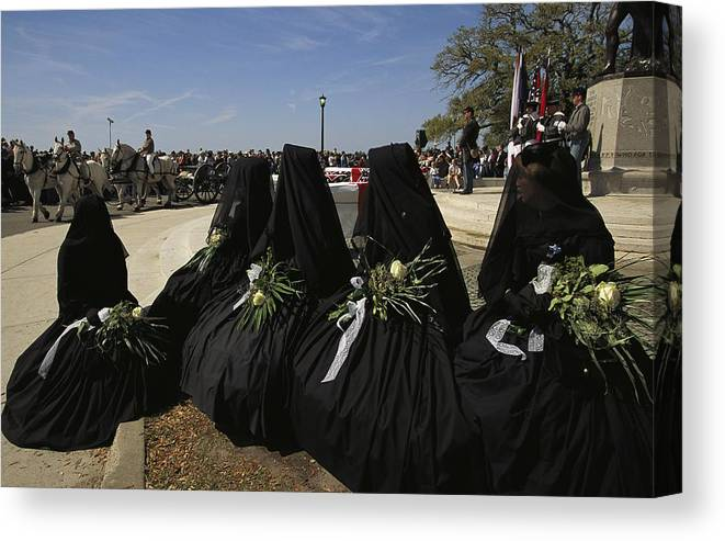 Reenactments Canvas Print featuring the photograph A Civil War-era Funeral Is Recreated by Ira Block