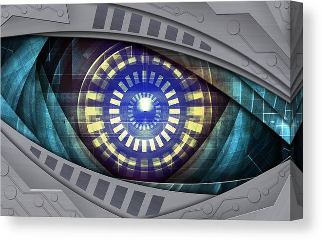 Active Canvas Print featuring the mixed media Abstract Robot Eye by Nattapon Wongwean