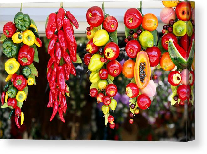 Green Canvas Print featuring the photograph Hanging Food by Marilyn Hunt
