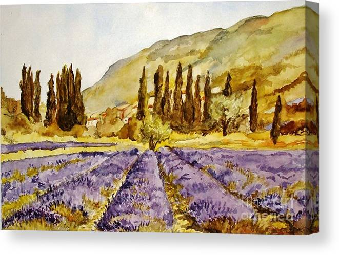 Lavender Canvas Print featuring the painting La Provence by Stephanie Koehl