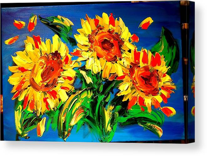 Red Poppies Canvas Print featuring the painting Sunflowers by Mark Kazav