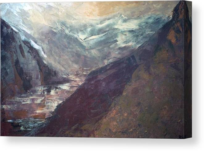 Lanscape Mountains Spiritual Places Canvas Print featuring the painting The Path Of Lesser Resistence by Peta Mccabe