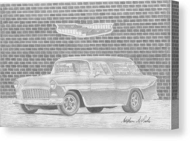 Rooks10904 Drawings Canvas Print featuring the drawing 1955 Chevrolet Nomad Classic Car Art Print by Stephen Rooks