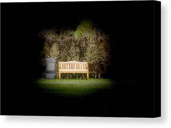 Bench Canvas Print featuring the photograph A Trash Can And Wooden Benches In A Small Grassy Area by Ashish Agarwal