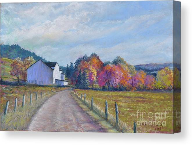 Paintings Of Farms In Fall Canvas Print featuring the painting Almost Home by Penny Neimiller