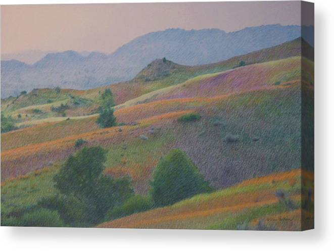 North Dakota Drawings Canvas Print featuring the pastel Badlands In July by Cris Fulton